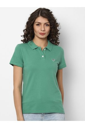 AMERICAN EAGLE OUTFITTERS Women Green Solid Polo Collar T-shirt
