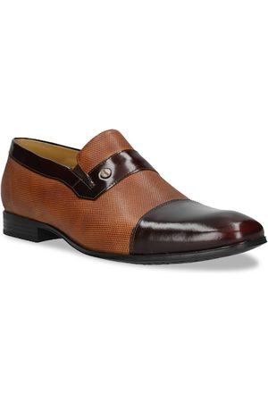Bugatti Men Brown & Red Colourblocked Formal Slip-On Shoes