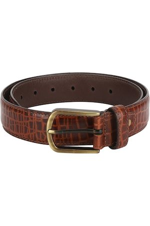 Aditi Wasan Men Tan Brown Croc Skin Textured Genuine Leather Belt