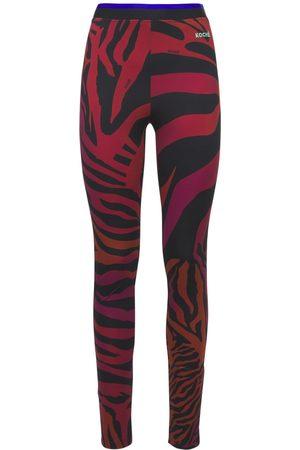 KOCHÉ Women Stretch Trousers - Printed Stretch Jersey Leggings