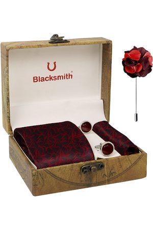 Blacksmith Men Red & Black Leaves Printed Accessory Gift Set