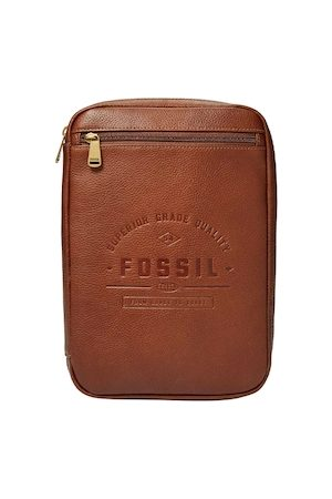 Fossil Men Brown Textured Leather Travel Pouch