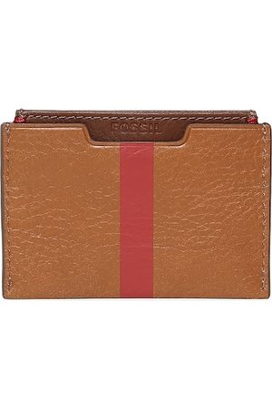 Fossil Men Brown Solid Leather Card Holder