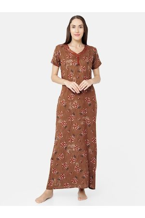 Sand Brown Printed Maxi Nightdress