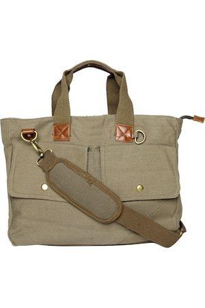 ASTRID Men Olive & Brown Canvas 17 Inch Laptop Bag