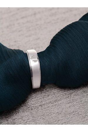 Clara Men 92.5 Sterling Silver Silver-Toned Cubic Zirconia-Studded Ennamelled Adjustable Finger Ring