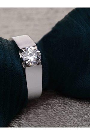 Clara Men Sterling Silver Toned Cubic Zirconia Studded Enameled Adjustable Finger Ring