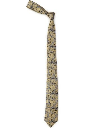Louis Philippe Navy Blue & Beige Silk Woven Design Broad Tie