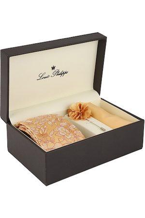Louis Philippe Men Orange & White Printed Accessory Gift Set