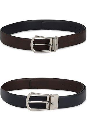 Louis Philippe Men Set of 2 Brown & Black Textured Belts