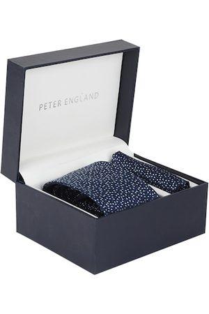 Peter England Men Navy Blue Patterned Accessory Gift Set