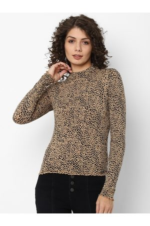 AMERICAN EAGLE OUTFITTERS Women Beige NA Printed Polo Collar Applique T-shirt NA