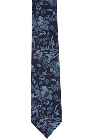 Peter England Men Navy Blue Woven-Design Tie and Pocket Square Gift Set
