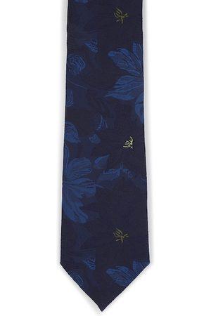 Louis Philippe Men Navy Blue Printed Broad Tie