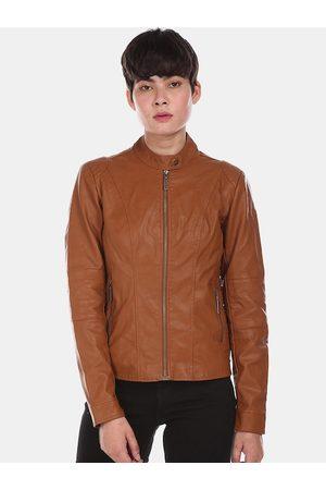 Ralph Lauren U S Polo Assn Women Brown Biker Jacket