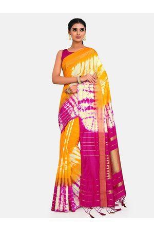 Mimosa Yellow & Pink Tie and Dye Zari Art Silk Half and Half Banarasi Saree