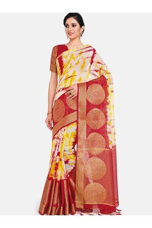 Mimosa Maroon & Yellow Tie and Dye Zari Linen Blend Banarasi Saree