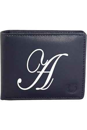 Blacksmith Men Navy Blue & White Graphic Printed PU Two Fold Wallet with SD Card Holder