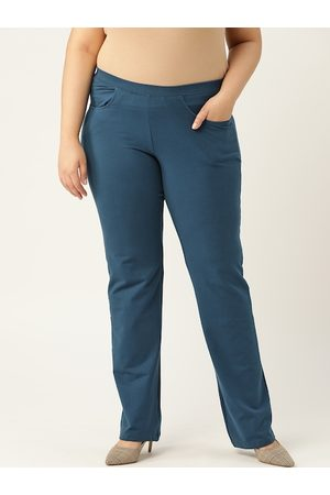 Revolution Plus Size Women Teal Blue Solid Relaxed High-Rise Regular Trousers