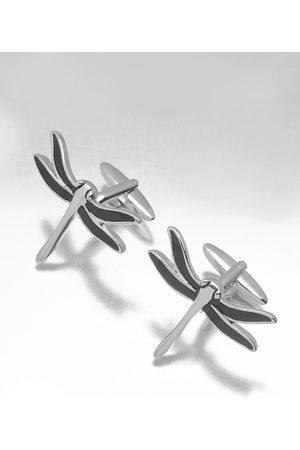 shaze Silver-Toned & Black Contemporary Cufflinks
