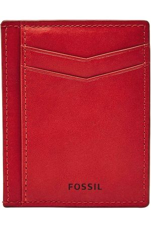 Fossil Men Red Solid Leather Card Holder