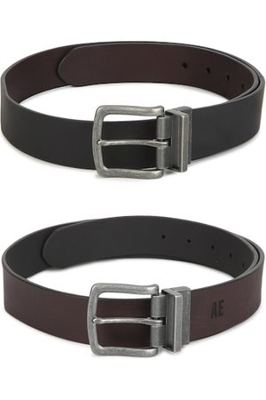 AMERICAN EAGLE OUTFITTERS Men Black & Brown Leather Reversible Formal Belt