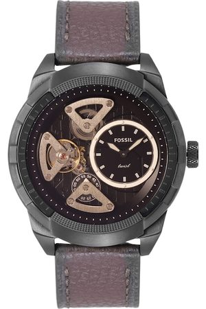 Fossil Men Black Skeleton Dial & Brown Leather Straps Analogue Automatic Watch ME1172