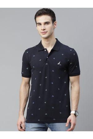 Nautica Men Navy Blue Printed Polo Collar T-shirt