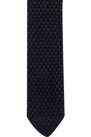 The Tie Hub Men Black Woven Design Skinny Tie