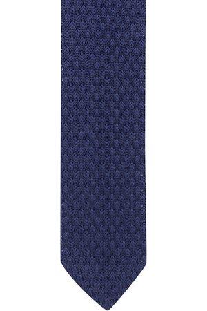 The Tie Hub Men Navy Blue Woven Design Skinny Tie