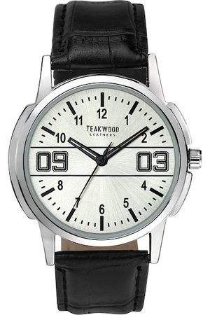 Teakwood Leathers Men White Dial & Black Leather Straps Analogue Watch