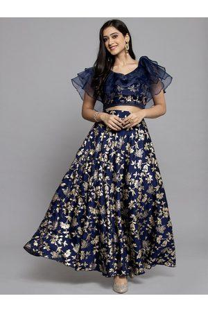 Get Glamr Women Navy Blue & Gold-Toned Foil Print Ready to Wear Lehenga & Blouse