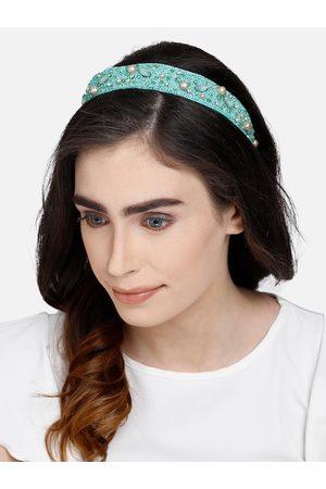 Anekaant Sea Green Beaded Hairband