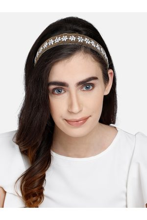 Anekaant Hair Accessories - Gold-Toned & White Floral Beaded Velvet Hairband