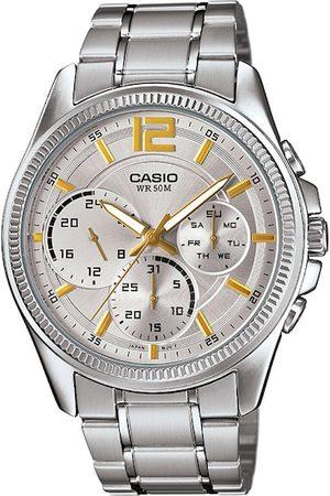 Casio Men Silver-Toned Analogue Enticer Watch MTP-E305HD-7AVIF