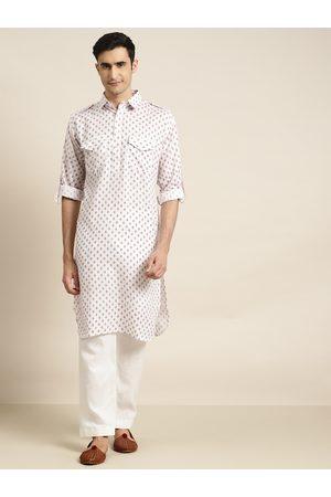 SOJANYA Men White & Maroon Printed Kurta with Salwar