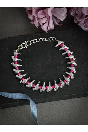 Silvermerc Designs Women Silver-Plated Pink Beaded Charm Handcrafted Anklet