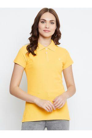 NEVA Women Short Sleeve - Women Yellow Solid Polo Collar T-shirt