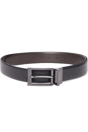 Allen Solly Men Black & Coffee Brown Textured Leather Reversible Formal Belt