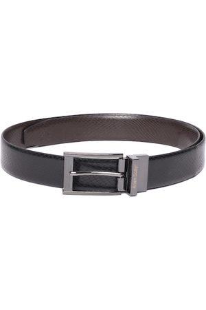 Allen Solly Men Black & Coffee Brown Snakeskin Textured Leather Reversible Formal Belt