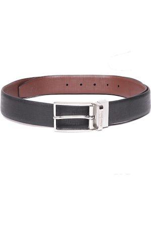 Allen Solly Men Black & Brown Textured Leather Reversible Formal Belt