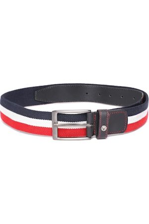 Allen Solly Men Navy Blue & White Striped Stretchable Belt
