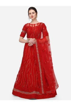 JATRIQQ Women Red Embroidered Semi-Stitched Lehenga & Unstitched Blouse with Dupatta