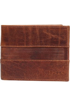Teakwood Leathers Men Tan Textured Leather Two Fold Wallet
