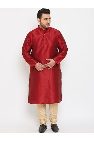 VASTRAMAY PLUS Men Maroon & Beige Ethnic Kurta with Pyjamas