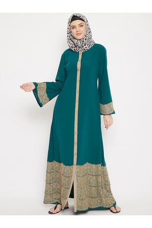 MOMIN LIBAS Women Teal Green & Beige Solid Burqa with Lace Detail