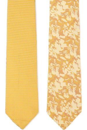 Louis Philippe Men Mustard & Beige Woven Design Reversible Skinny Tie