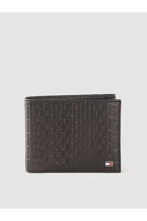 Tommy Hilfiger Men Black Typography Textured Leather Two Fold Wallet