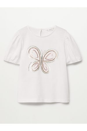 MANGO White & Brown Butterfly Sequinned Organic Cotton Sustainable Regular Top