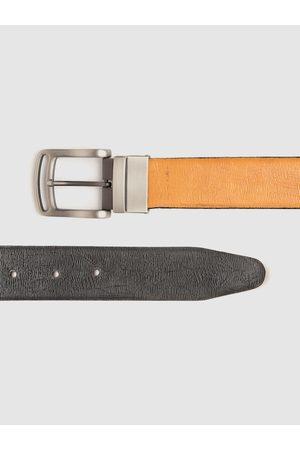 Highlander Men Black & Beige Self Striped Reversible Belt